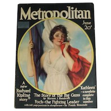 Beautiful! Antique 1918 Metropolitan Magazine Haskell Coffin Cover