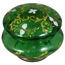 Antique Czech Glass Green Painted Dresser Box!