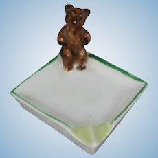 Antique German Green White Teddy Bear Porcelain Tray!