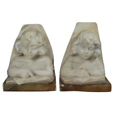 Antique Alabaster Marble Bookends Little Girl Reading
