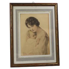 Antique c1910s Mother & Baby Photo Print in Orig Frame!