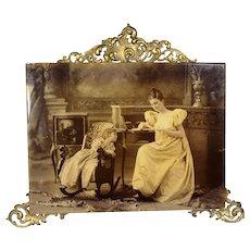 Lovely! Antique 1896 Mother Child Photo Ornate Bevel Glass Brass Frame