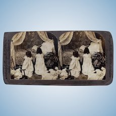 Antique 1897 Stereoview Photo Card Children Bisque Doll Praying