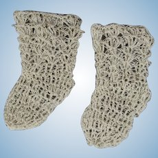 Gorgeous Antique Crochet Tatted Bisque Bebe Poupee Doll Socks!