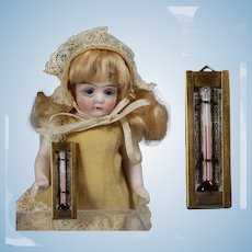 Vintage Doll Size Mini Dollhouse Glass Thermometer!