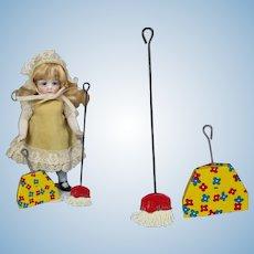 Vintage Small Doll Tin Litho Broom & Dust Pan!