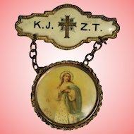 Antique c1890s Religious Virgin Mary Catholic Dangle Pin!