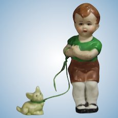 Antique German Hertwig All Bisque Doll Boy Immobile w Pet Dog on Leash!