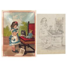 Charming! Antique Girl w Doll & Child's Matching Pencil Drawing!