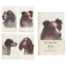 4 Antique Unused Dog Trade Cards Samples!