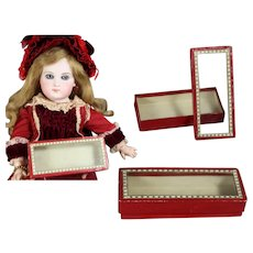 Antique Red French Glass Lidded Box for Doll Accessories!