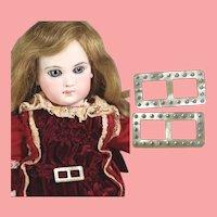 Vintage Pair Mini Rhinestone Doll Buckles!