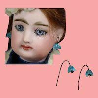 Antique Glass Blue Floral Earrings for French Fashion Doll!
