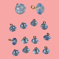 12 Gorgeous Antique Blue Glass Doll Buttons for Sewing!