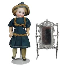 Antique German Doll Swivel Cheval Mirror Dollhouse