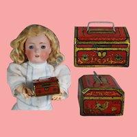 Antique Tin Litho Mini Doll Sized Bank!