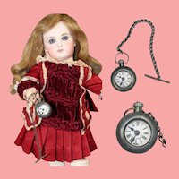 Antique German Doll Pocket Watch on Chain!