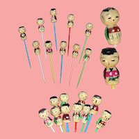10 Vintage Kokeshi Dolls Cocktail Cupcake Picks! Perfect for Doll Parties!