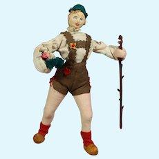 Vintage Ethnic German Swiss Black Forest Cloth Doll Hiker!