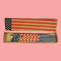 Antique Patriotic Red White Blue School Slate Pencils in Orig Box!