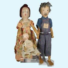 1935 PINN Wooden Doll Family Ty Pinn, Hattie Pinn, Baby Pinn Schoenhut