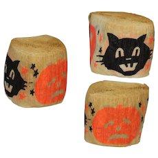 Vintage Dennison Halloween Crepe Paper Streamers Black Cat Pumpkin Roll!