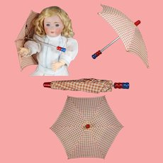 MINT! Darling Vintage c1940s Checkered Doll Umbrella!