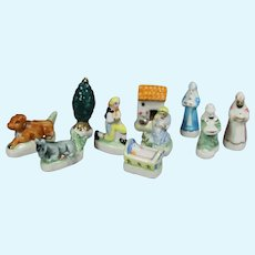 """Doll Sized Bisque Nativity PROVENCE Creche French """"Feves"""" King Cake Favors!"""