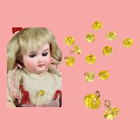 12 Gorgeous Antique Amber Colored Glass Doll Buttons for Sewing!