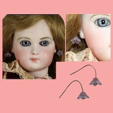 Antique Glass Purple Floral Earrings for French Fashion Doll!