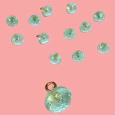12 Gorgeous Antique Green Glass Doll Buttons for Sewing!