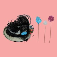 3 Beautiful Antique Glass Doll Hat Pins for your French Fashion!