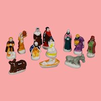 """Tiny Doll Sized Bisque Nativity Creche French """"Feves"""" King Cake Favors!"""