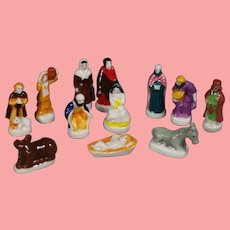 "Tiny Doll Sized Bisque Nativity Creche French ""Feves"" King Cake Favors!"