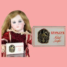 Antique 1926 Doll Size Mini Box Christmas Seals Stanley's Metal