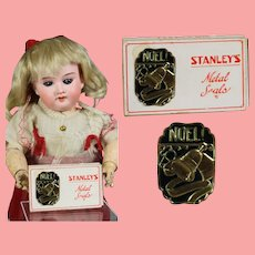 Antique 1926 Doll Size Mini Box Christmas Seals NOEL! Stanley's Metal