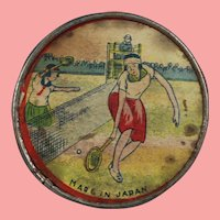Vintage 1940s Litho Ladies Pocket Mirror Tennis Theme Japan