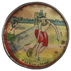 Vintage 1940s Litho Ladies Pocket Mirror Tennis Theme Japan