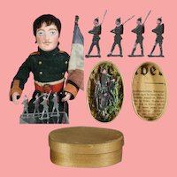 Antique 1913 Doll Sized German Lead Flat Soldiers in Orig Box!