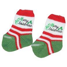 Vintage Doll Merry Christmas Socks for Dydee Tiny Tears!