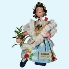 Vintage Klumpe Roldan Cloth Doll Spain Girl w Tag!