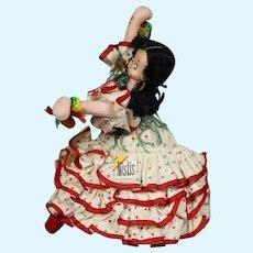 Vintage Klumpe Roldan Nistis Cloth Doll Flamenco Girl w Orig Tag!