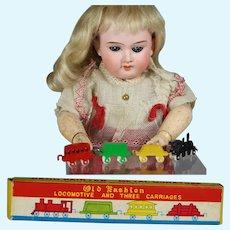 Vintage JAPAN Doll Size Mini Metal Train Set in Box!