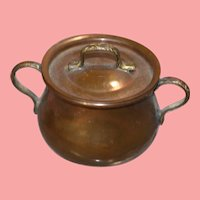 Vintage Mini Copper Cooking Pot - Dollhouse Doll Roombox - Made Italy