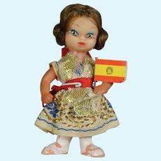 """Precious! Tiny 4"""" Vintage 1960s Spain Souvenir Doll!"""