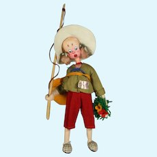 Vintage Klumpe Cloth Lady Fishing Doll w Tags!  Made in Spain!
