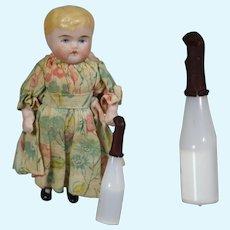 Antique French Iridescent White Mini Doll Baby Bottle!
