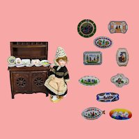 French Doll Size Brittany, France Quimper Mini Plates!