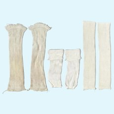 3 Vintage Pairs White Doll Socks for 40s-50s Dolls!