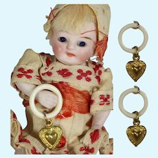 2 Mini Doll Baby Rattles w Brass Heart for your Baby Doll!